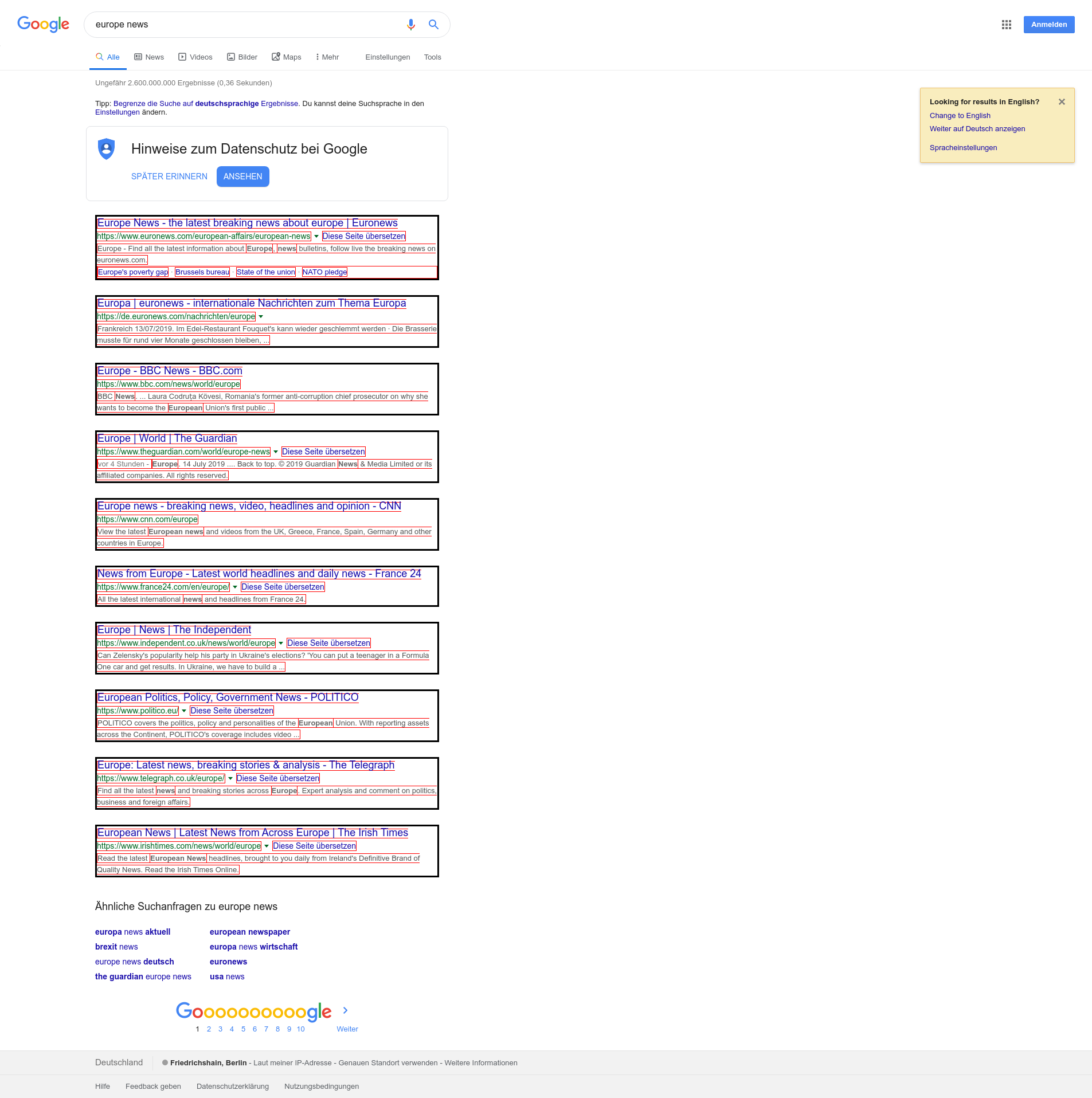 google structure example