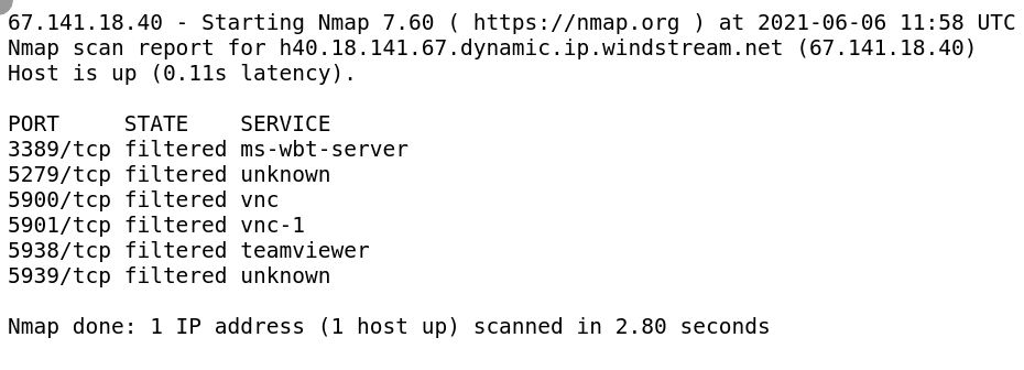 Several Open Ports detected by whatleaks.com