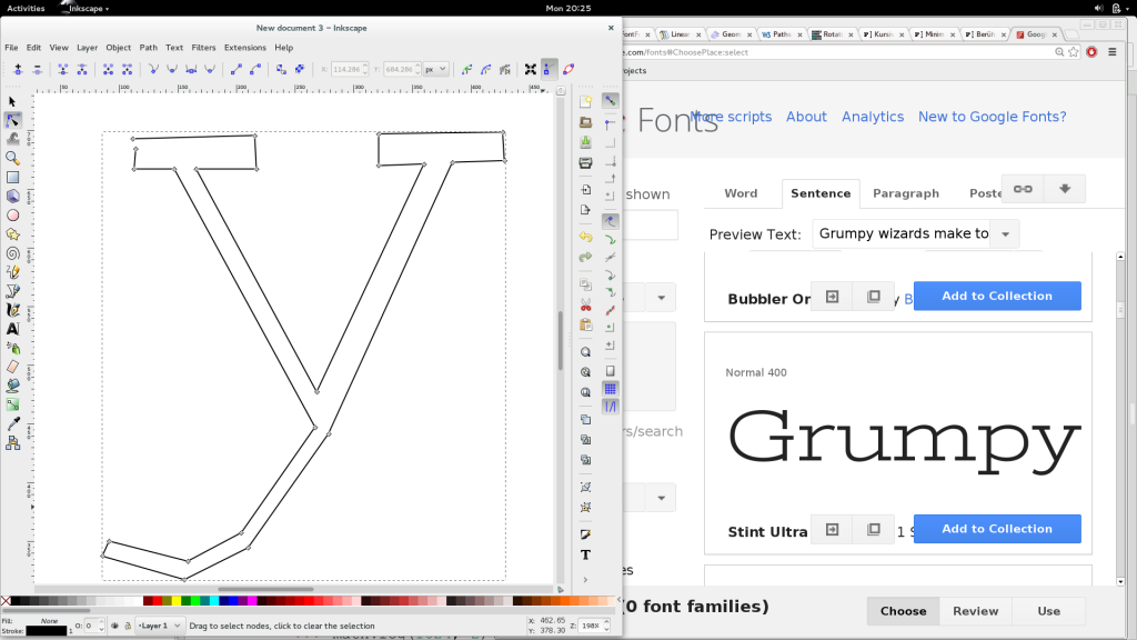 raw-shaping a glyph